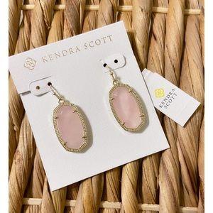Kendra Scott   Gold & Rose Quartz Earrings.